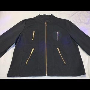 Michael Kors black jacket with gold zips